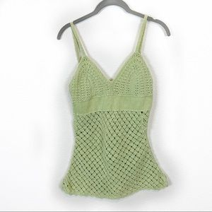 Tops - Green Crochet Peek-a-boo Belly Top Size Small